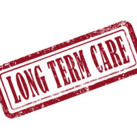Stamp that reads Long term care