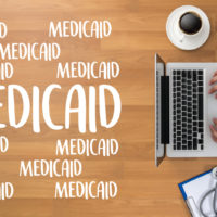 A desk that reads Medicaid
