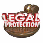 Legal protection sign with gavel