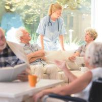 Nursing home with seniors sitting