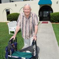 the senior patient using walker