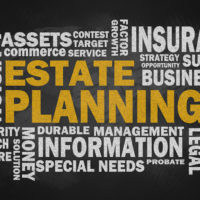 estate planning with related word cloud on blackboard